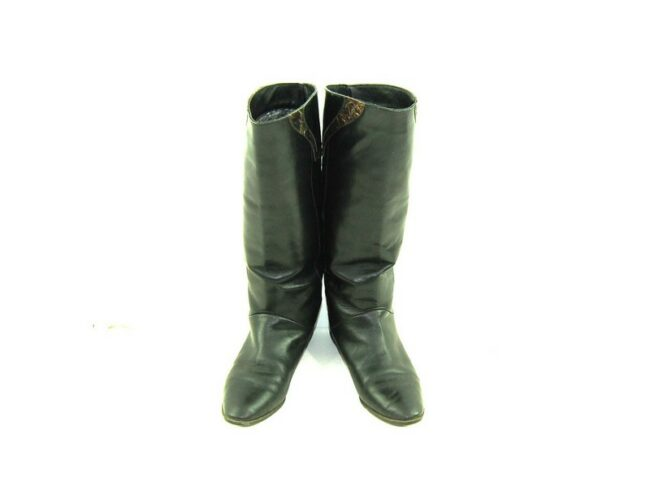 Front of 80s Flat Patchwork Leather Boots