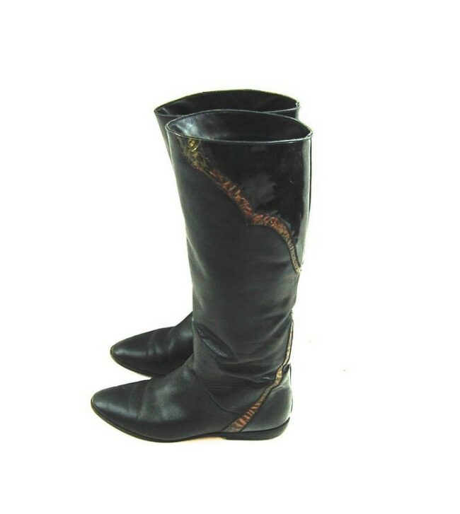 80s Flat Patchwork Leather Boots