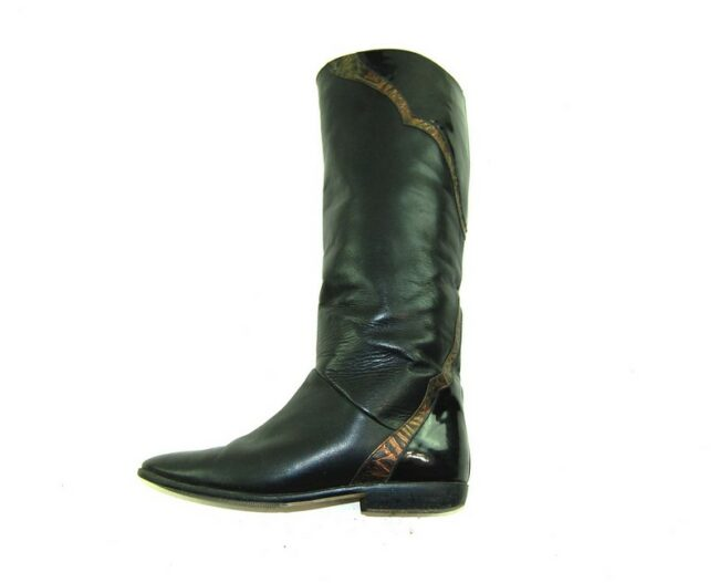 Side of 80s Flat Patchwork Leather Boots