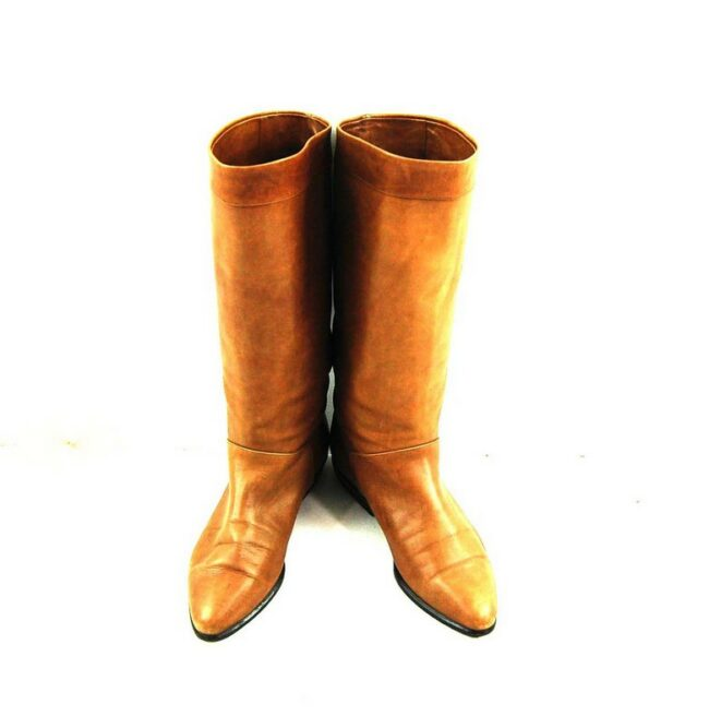 Front of 80s Brown Boots with Stripe
