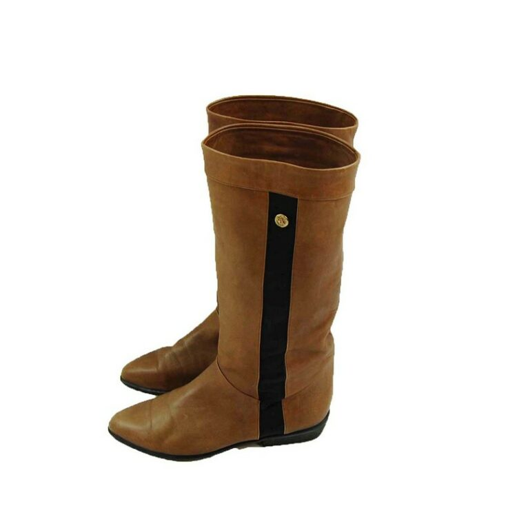 80s Brown Boots with Stripe