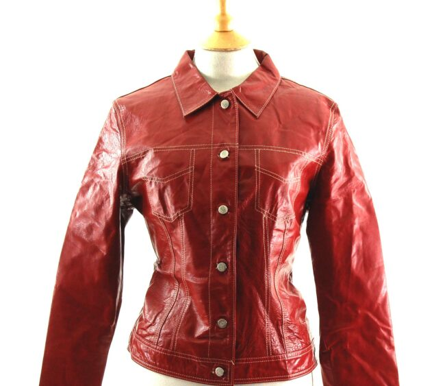 90s Red Leather Jacket Close Up
