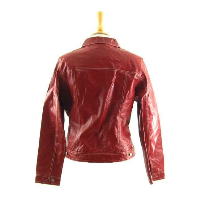 90s Red Leather Jacket Back