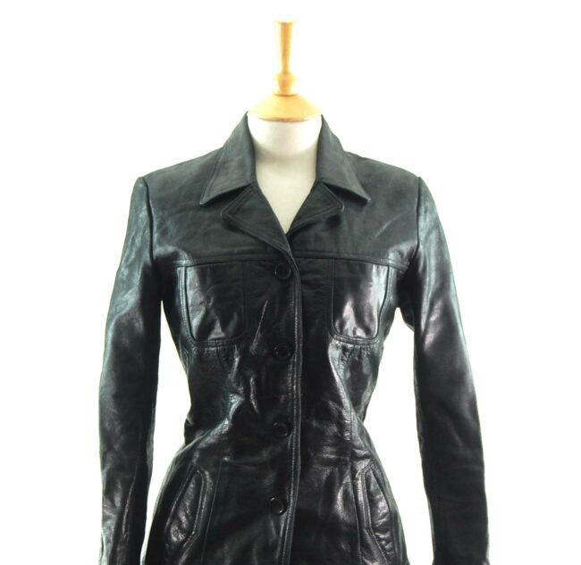 90s Fitted Black Leather Jacket Close Up