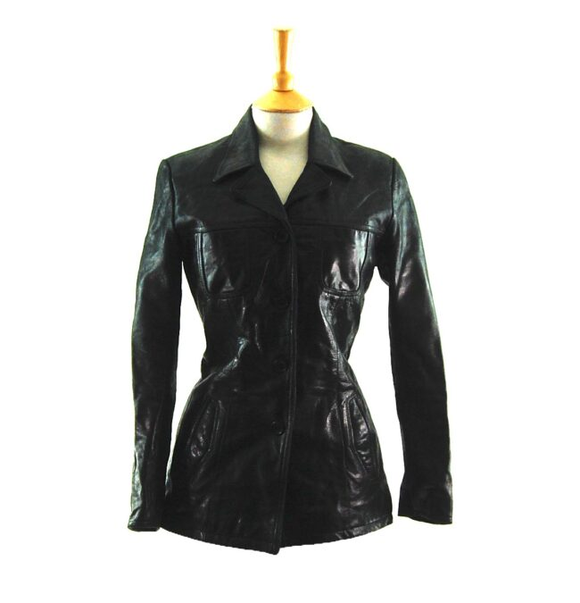 90s Fitted Black Leather Jacket