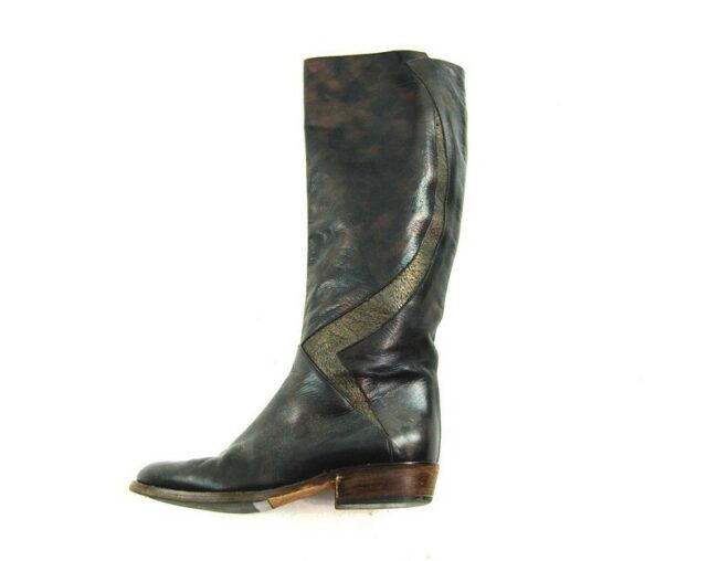 Side Of 80s Black Patchwork Boots