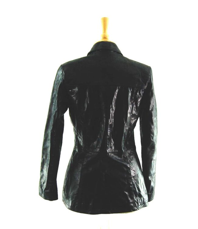 90s Fitted Black Leather Jacket Back