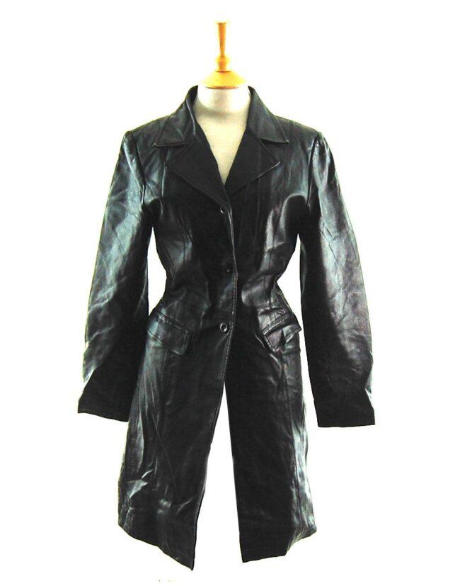 90s Black Leather Coat