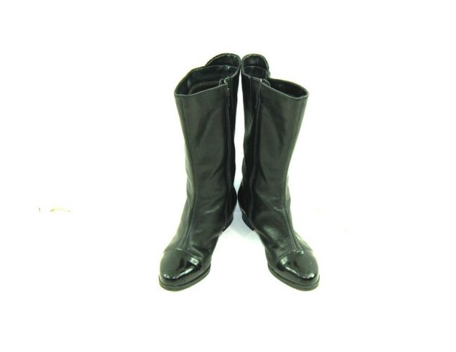 Front of 80s Black Patent Toe Boots