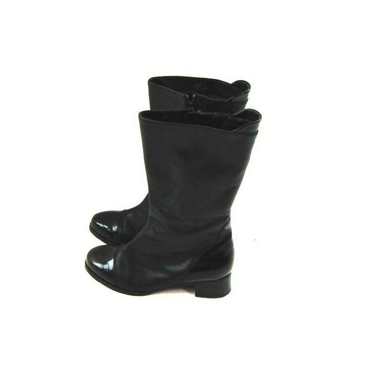 80s Black Patent Toe Boots