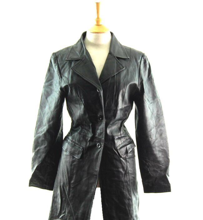 90s Black Leather Coat close up
