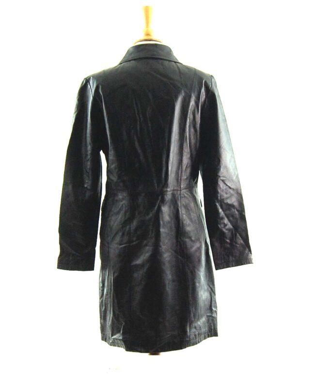 90s Black Leather Coat back