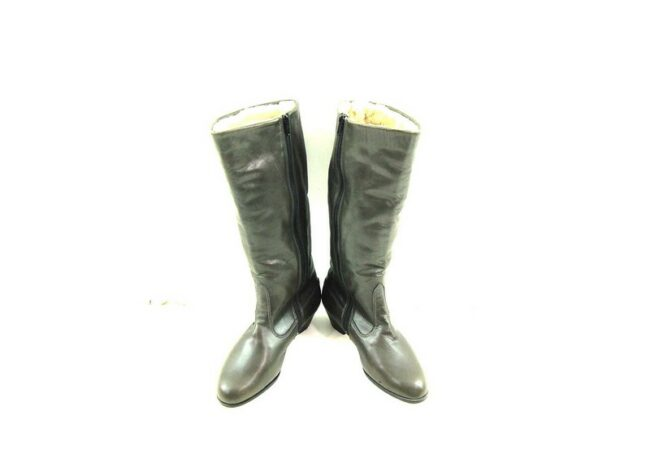 Front of Vintage Grey Leather Boots
