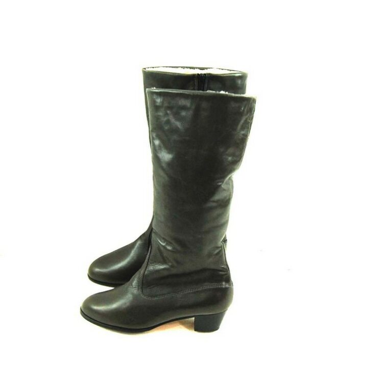 Vintage Grey Leather Boots