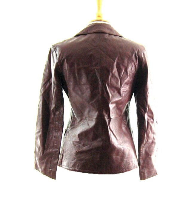 90s Brown Leather Jacket Back