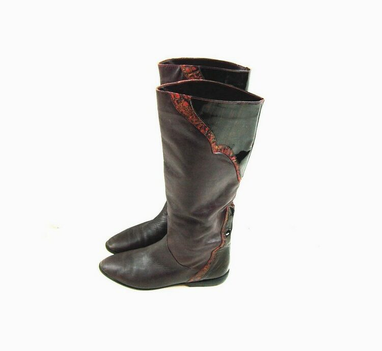 80s Patchwork Knee Boots