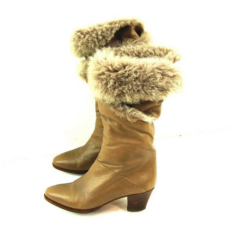 Vintage Faux Fur Ankle Boots