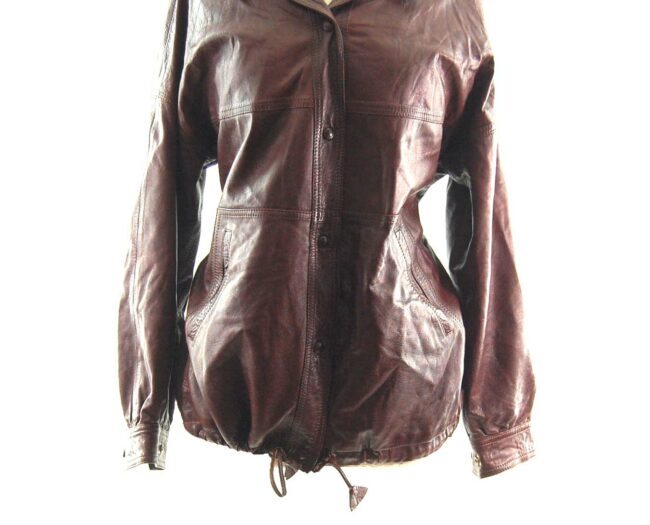 80s Drawstring Leather Jacket close up