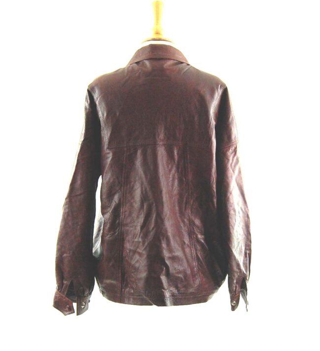 80s Drawstring Leather Jacket back
