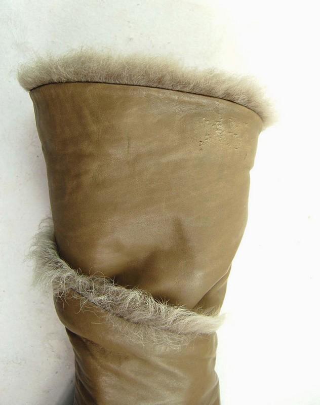 Close Up of Vintage Faux Fur Ankle Boots