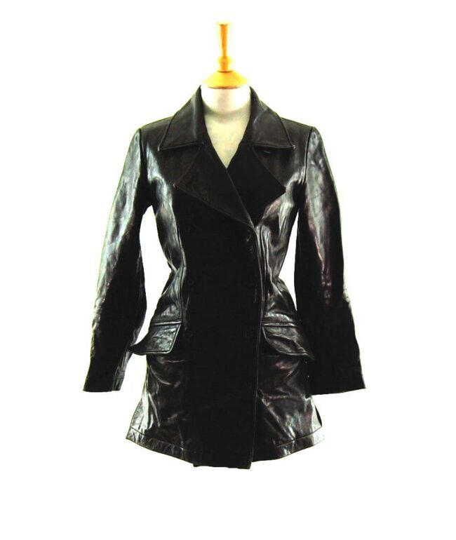 90s Black Double Breasted Leather Coat