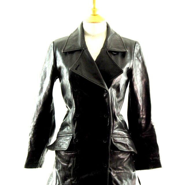 90s Black Double Breasted Leather Coat Close Up