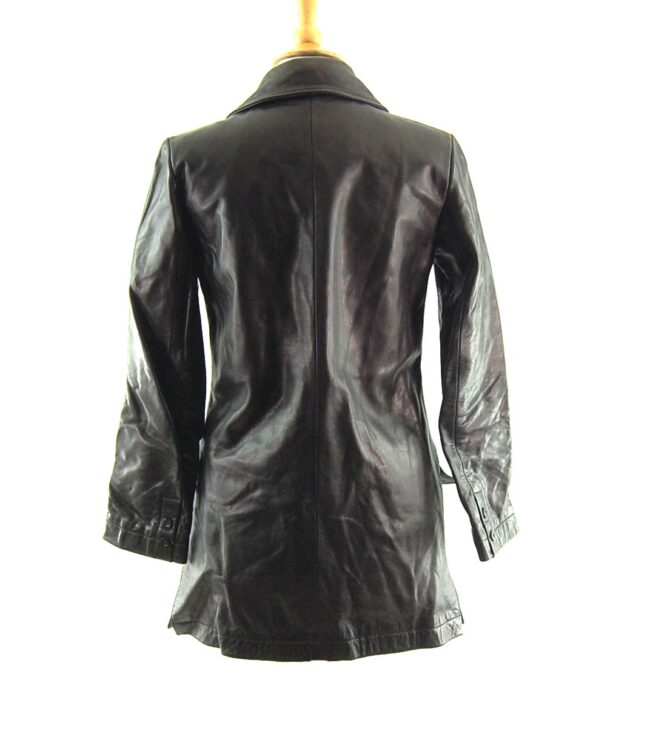 90s Black Double Breasted Leather Coat Back