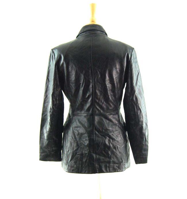 90s Black Leather Jacket back