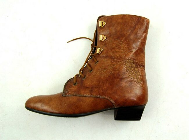 Side of Front of 80s Lace Up Ankle Boots