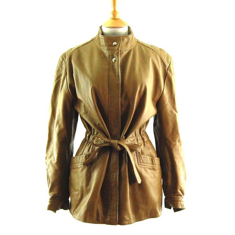 80s Tie Waist Leather Jacket