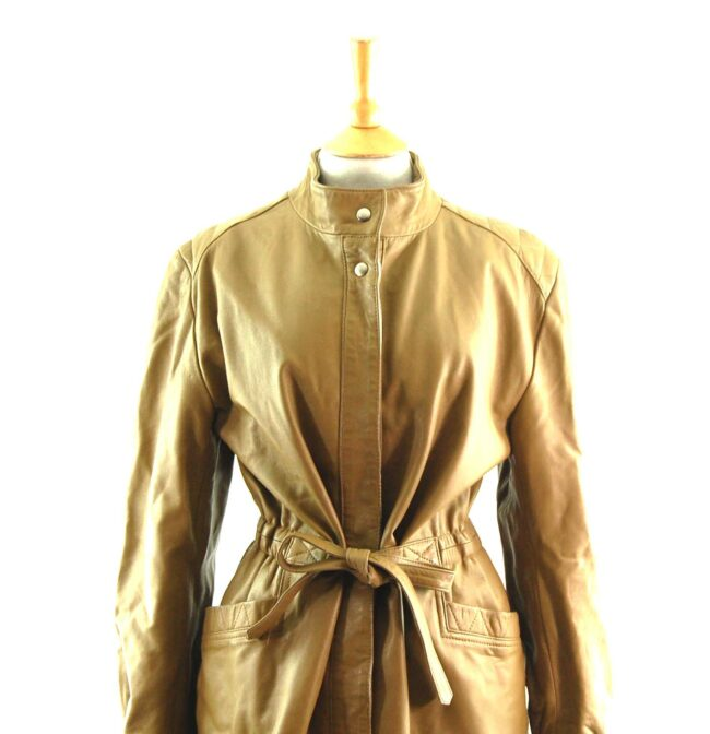 80s Tie Waist Leather Jacket Close Up