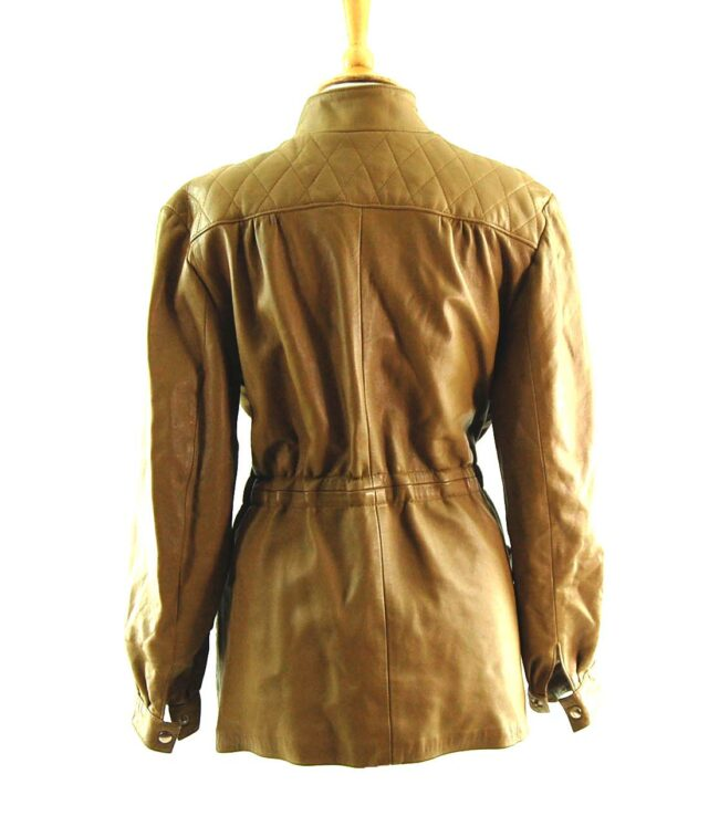 80s Tie Waist Leather Jacket Back