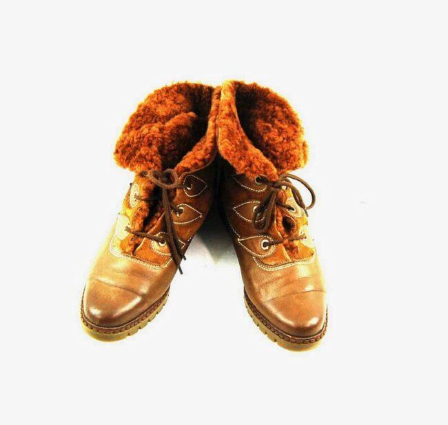 80s Faux Fur Lace Up Ankle Boots
