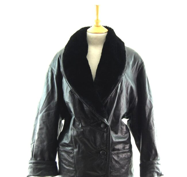 80s Leather and Faux Fur Jacket close up