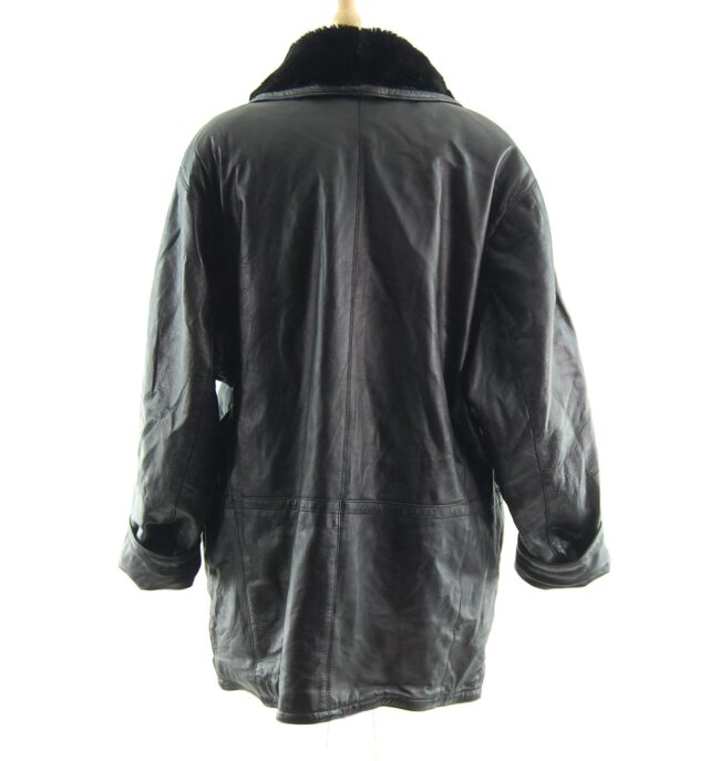 80s Leather and Faux Fur Jacket back