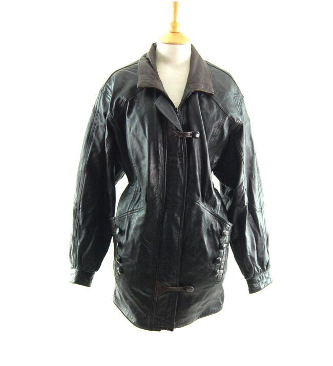 80s Leather Jacket with Buttons