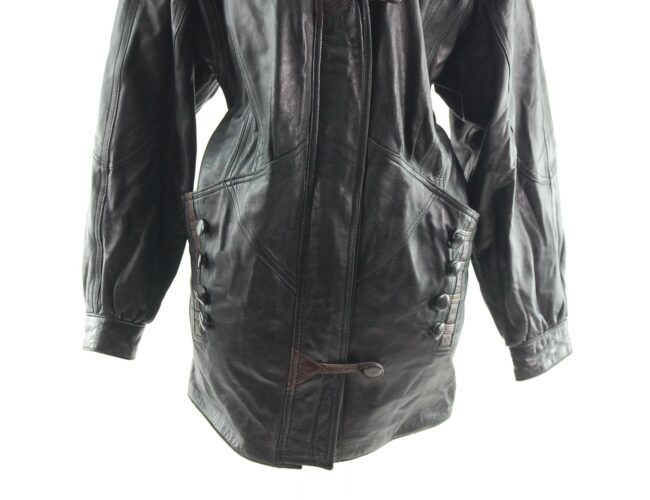 80s Leather Jacket with Buttons close up