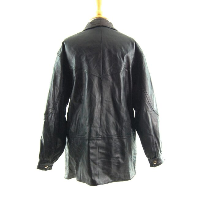 80s Leather Jacket with Buttons back