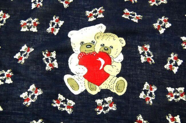 Close Up of Romantic Teddy Bears Bandana