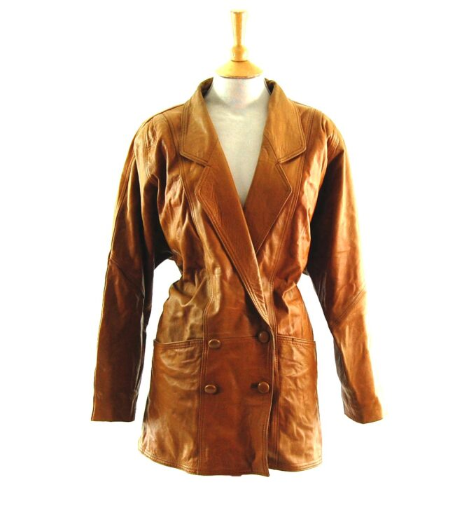 80s Brown Double Breasted Leather Jacket