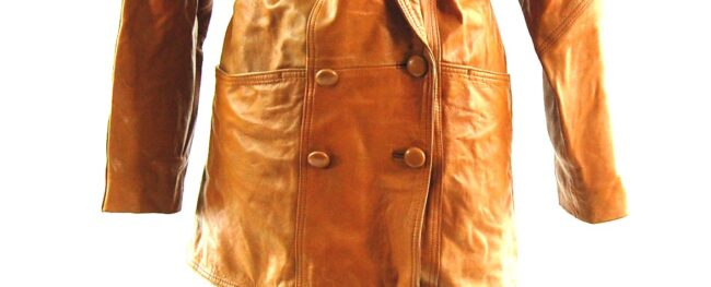 80s Brown Double Breasted Leather Jacket Close Up