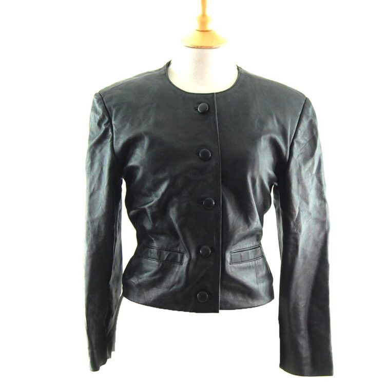 80s Cropped Collarless Leather Jacket