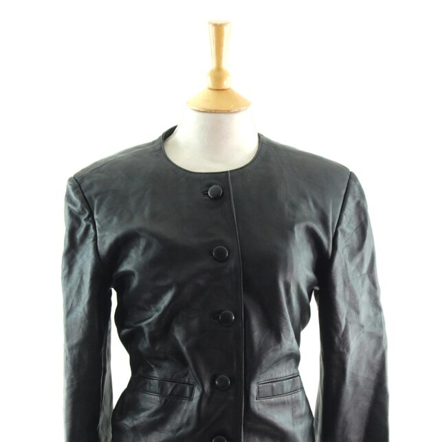 80s Cropped Collarless Leather Jacket close up