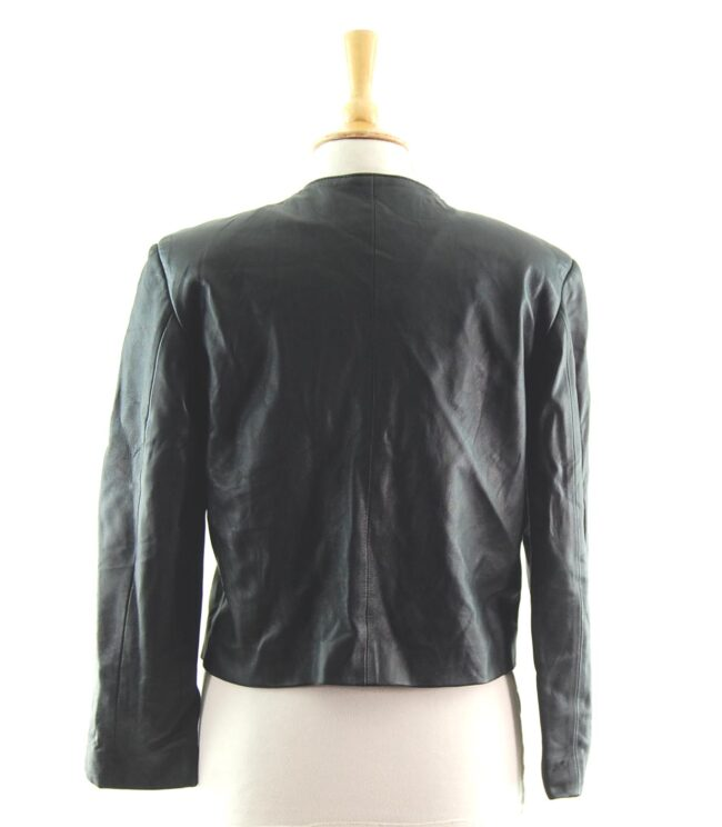 80s Cropped Collarless Leather Jacket back