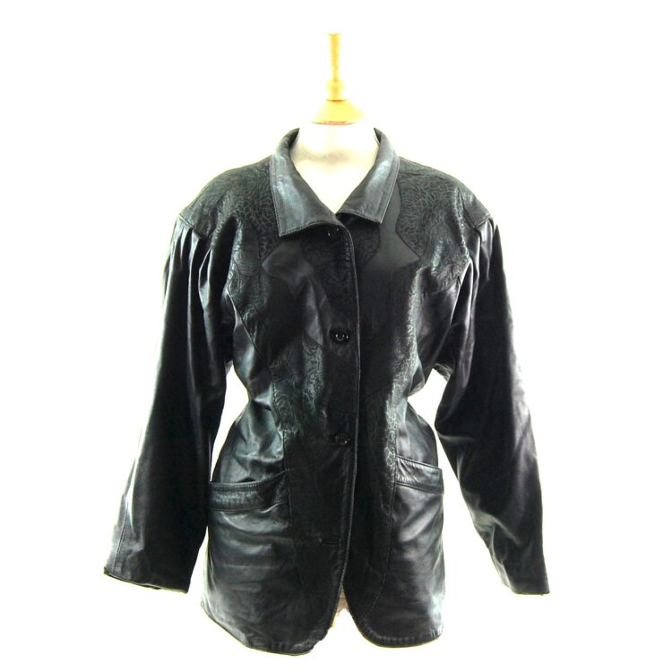 80s Leather Jacket with Floral Pattern