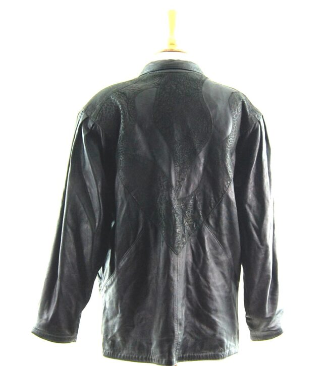 80s Leather Jacket with Floral Pattern close up back
