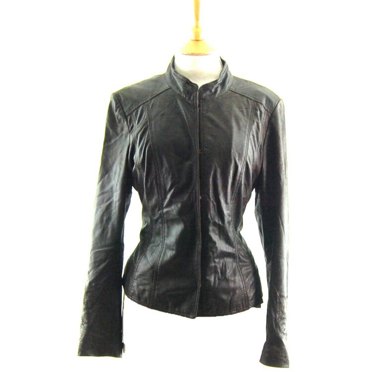 80s Embroidered Black Leather Jacket