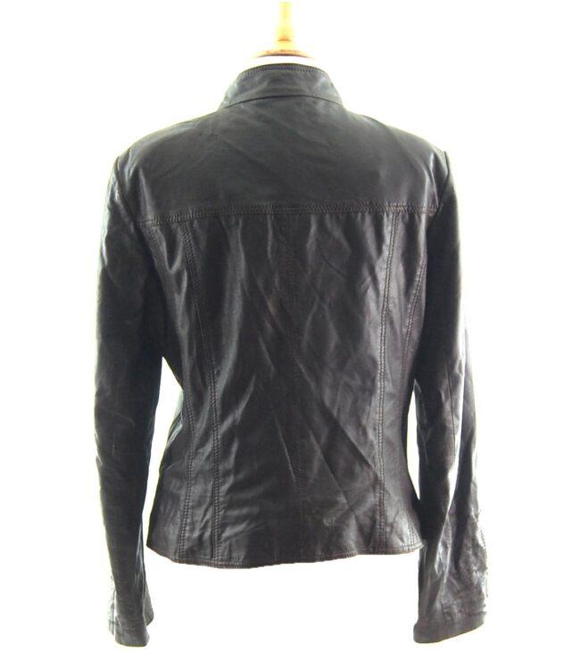 80s Embroidered Black Leather Jacket back