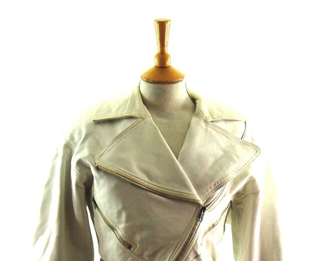 80s Cropped White Biker Jacket close up