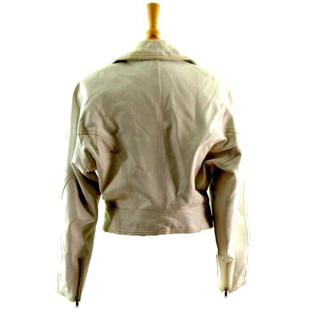 80s Cropped White Biker Jacket back